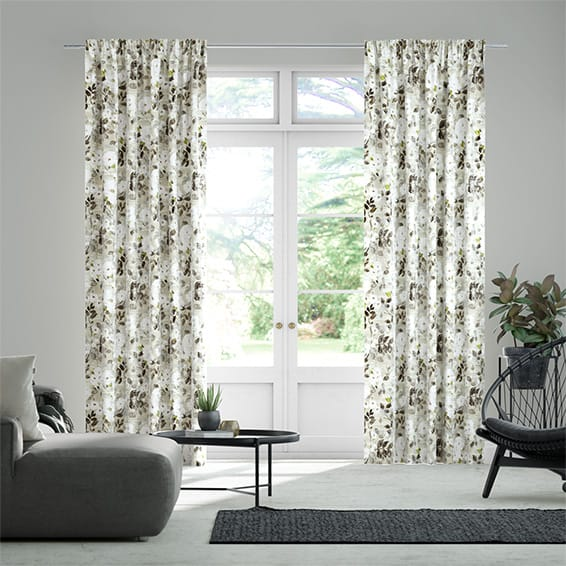 Paeonia Velvet Neutral Curtains