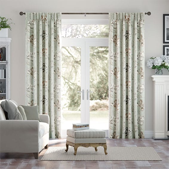 Painterly Floral Faux Silk Mist Curtains