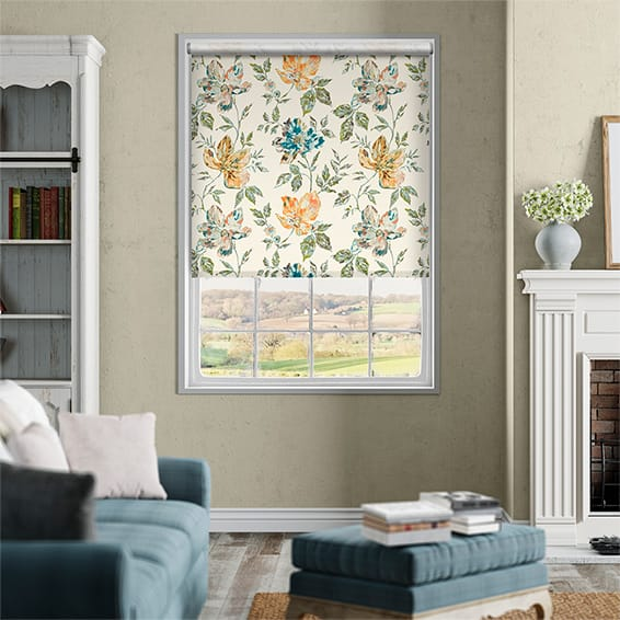 Painterly Floral Lagoon Blue Roller Blind