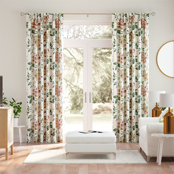 Painterly Floral Vintage Linen Tea Rose Curtains