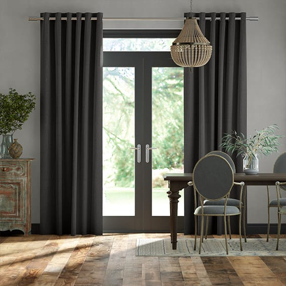Paleo Linen Homespun Grey  Curtains