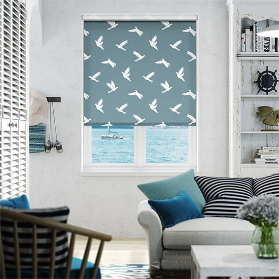 Paper Doves Cadet Blue Roller Blind