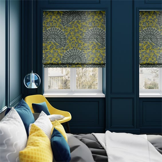 Pinion Velvet Lemon Sorbet Roman Blind