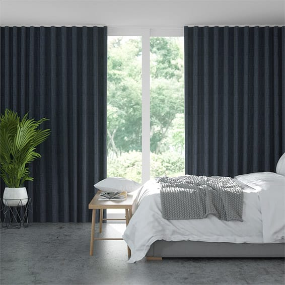 S-Fold Cavendish Navy Curtains