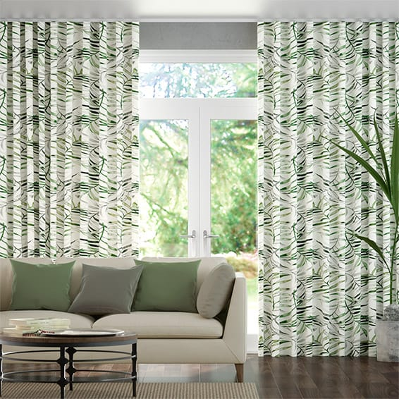 S-Fold Kentia Linen Leaf Curtains