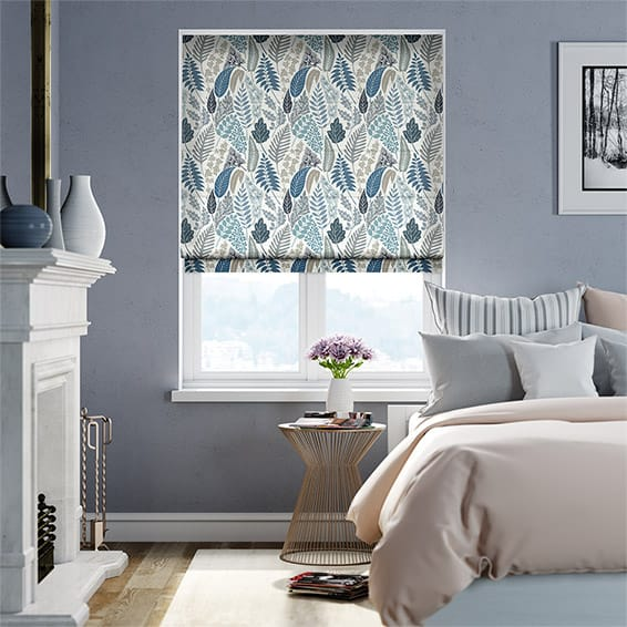 Scandi Ferns Linen Winter Roman Blind