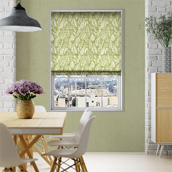 Scandi Ferns Vintage Linen Apple Roman Blind