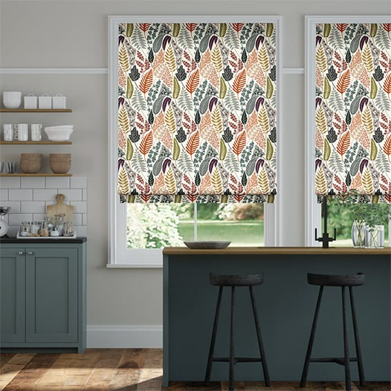 Scandi Ferns Vintage Linen Autumn Roman Blind