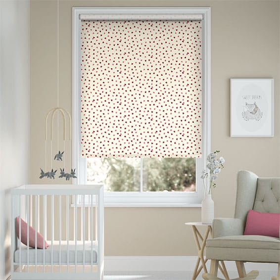 Scattered Hearts Pink Roller Blind