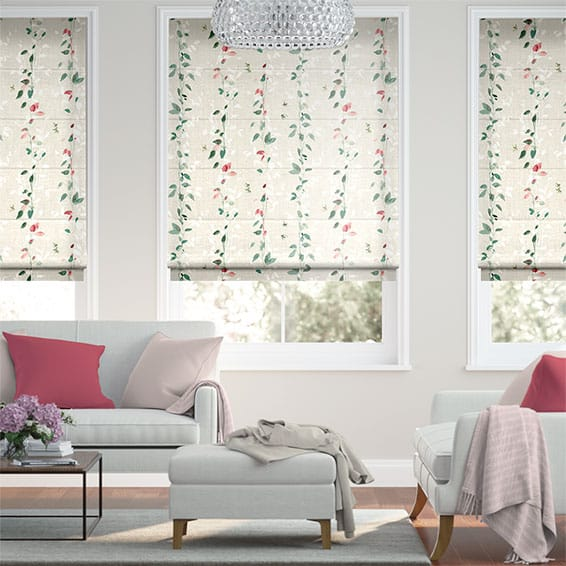 Secret Garden Faux Silk Rose Roman Blind