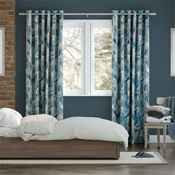 Shadow Leaf Linen Admiral Curtains