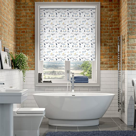 Splash Sailboats Blue Roller Blind
