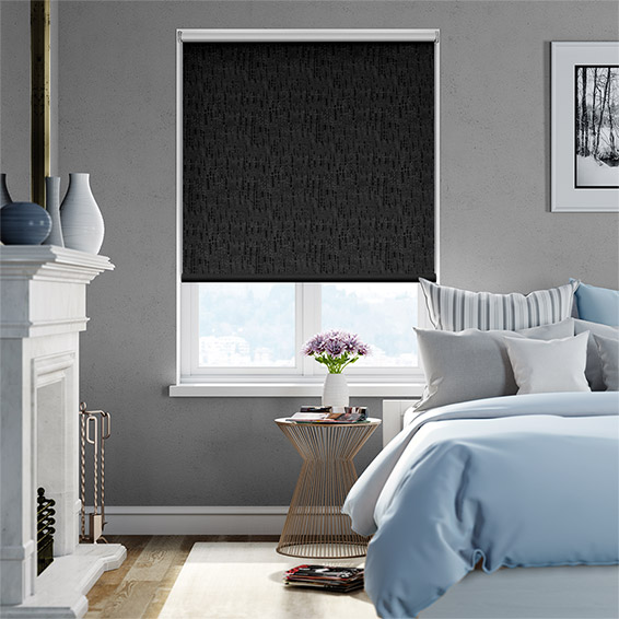 Stucco Pure Black Blockout Roller Blind