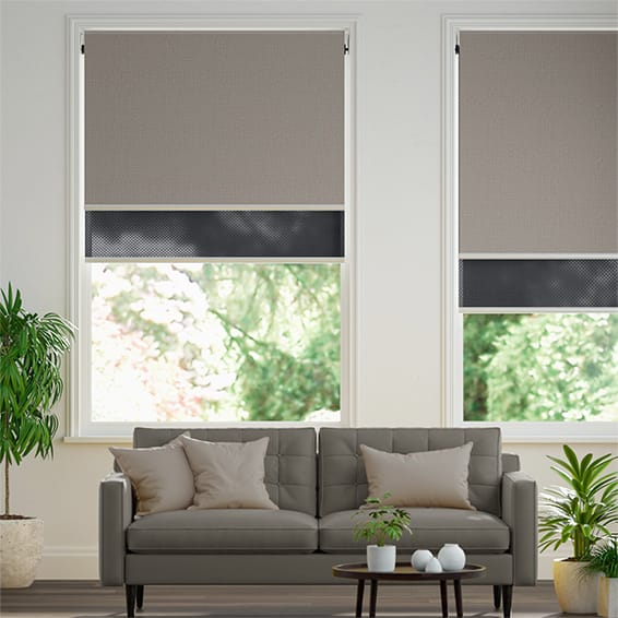 Titan Fairview Taupe & Ebony Double Roller Blind