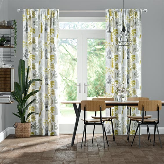 Tropical Leaves Ochre Curtains
