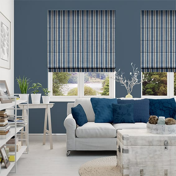 Twill Stripe Linen Denim Roman Blind