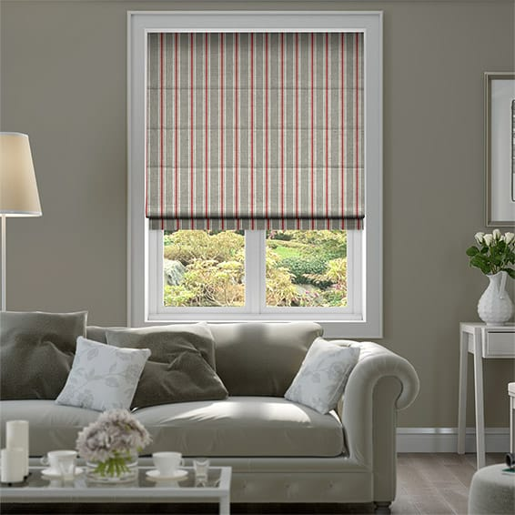 Twill Stripe Linen Strawberry Roman Blind