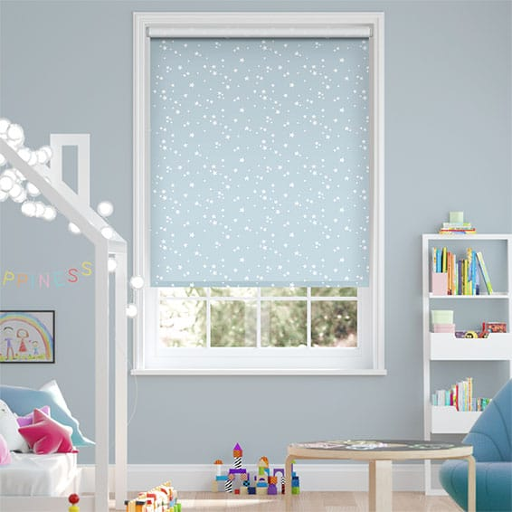 Twinkling Stars Baby Blue Blockout Roller Blind