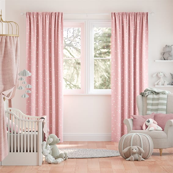 Twinkling Stars Candyfloss Pink Curtains