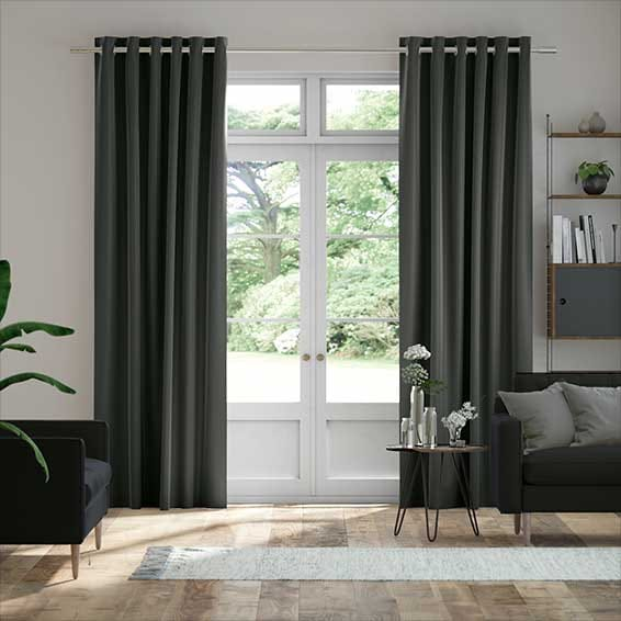 Velvet EnVogue Gunmetal Grey Curtains