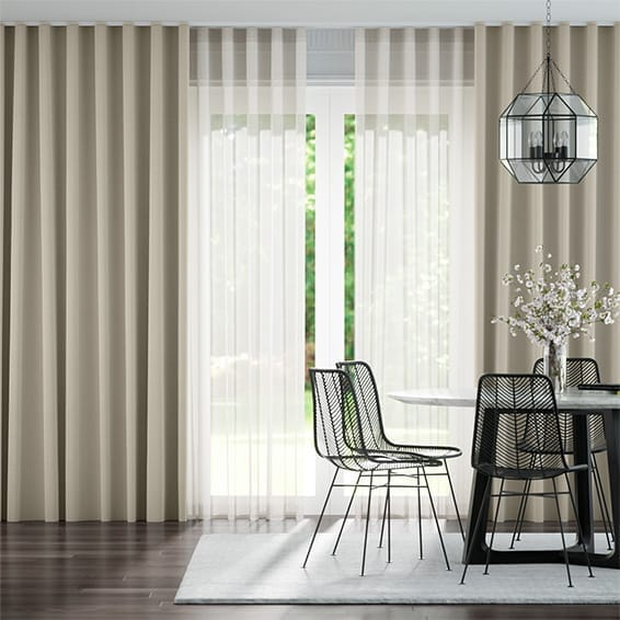 Double S-Fold Villa Alabaster & Neutral Curtains