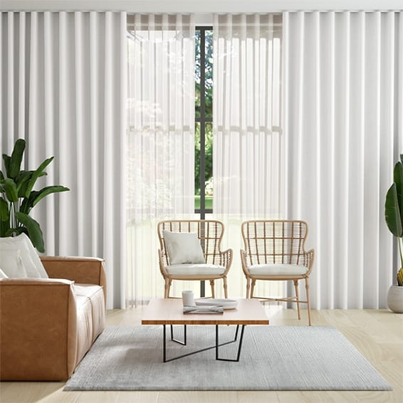 Double S-Fold Villa White & Neutral Curtains
