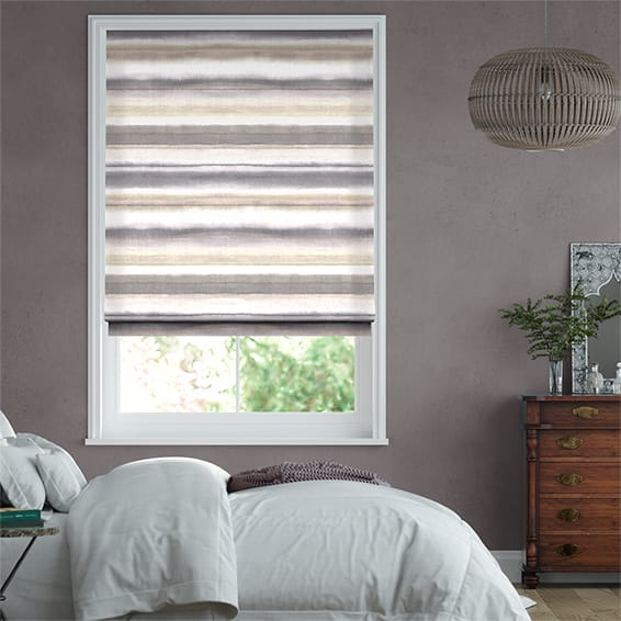 Watercolour Stripe Pebble Roman Blind