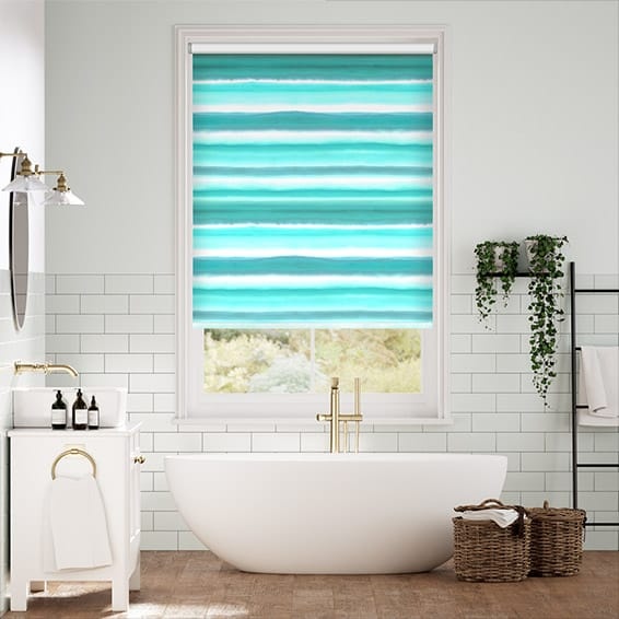 Watercolour Stripe Teal Roller Blind