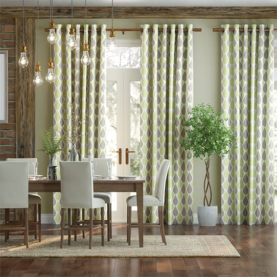 Winter Leaf Linen Spring Green Curtains